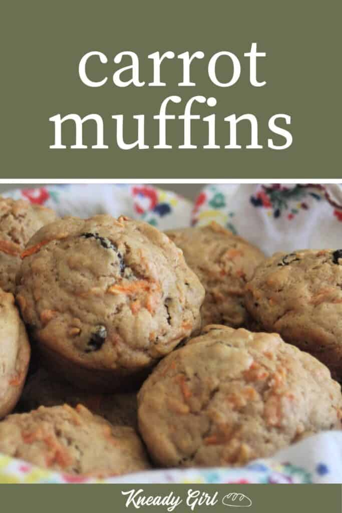 carrot muffins stacked into a napkin lined basket with text overlay.