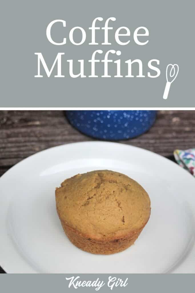 A coffee muffin on a white plate with text overlay.