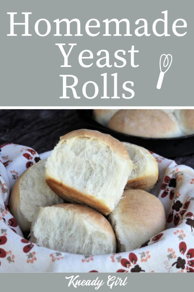 A napkin lined basket full of homemade yeast rolls with a close up of the one on top and a text overlay.
