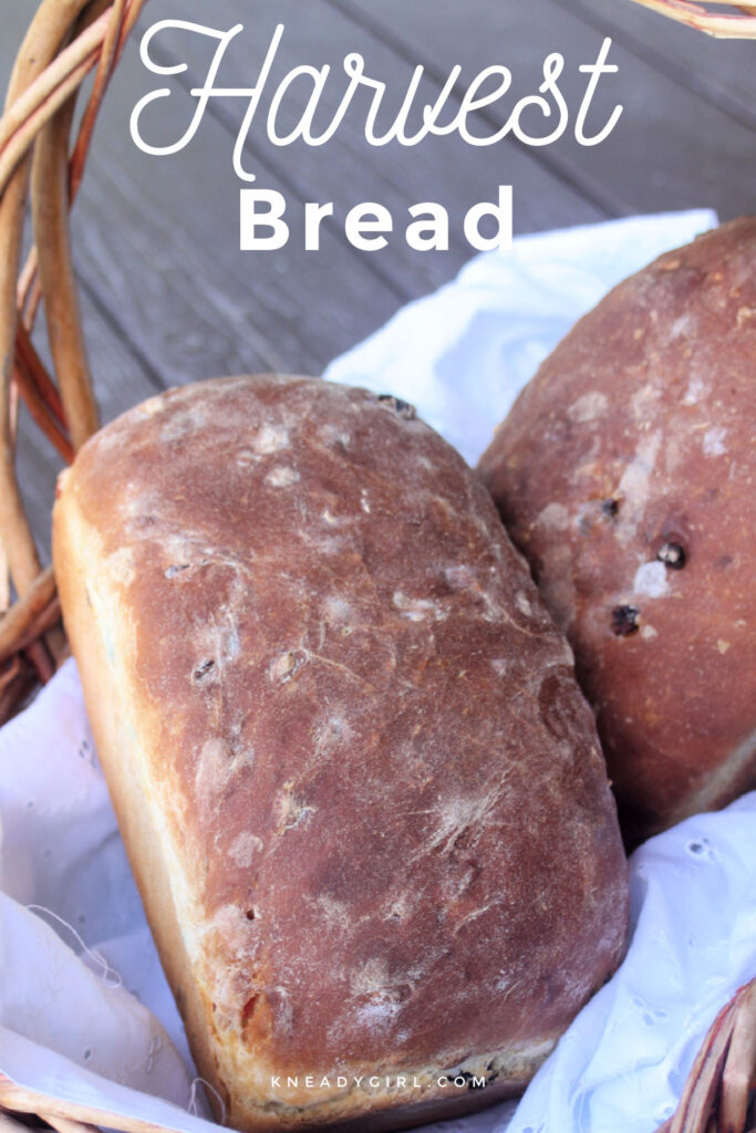2 loaves of harvest bread in a white linen lined basket with text overlay.