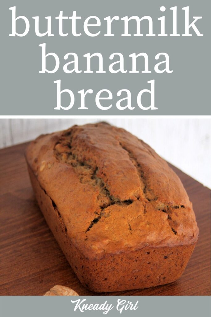 a loaf of banana bread on a board and text overlay.
