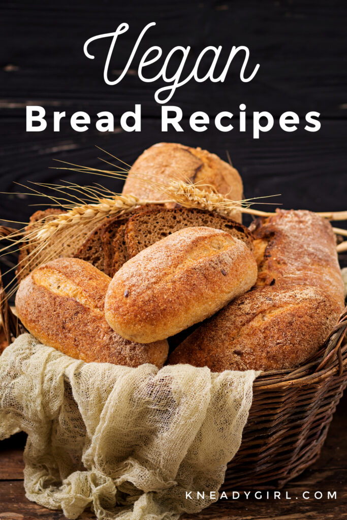 A basket full of different kinds of bread with text overlay.