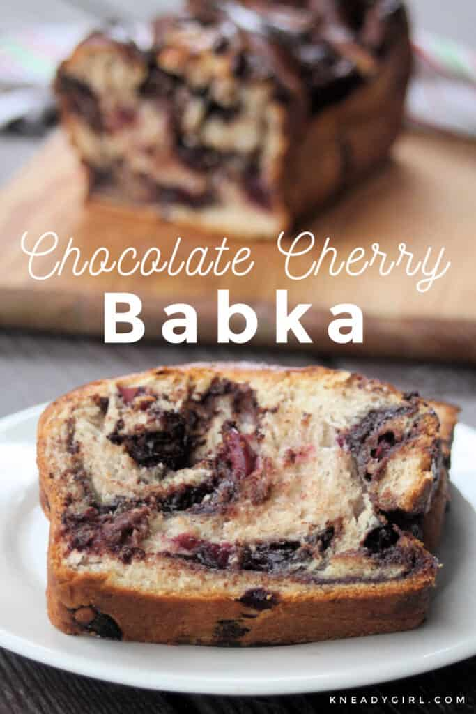 A slice of chocolate cherry babka on a white plate sitting in front of the rest of the loaf on a cutting board with text overlay.