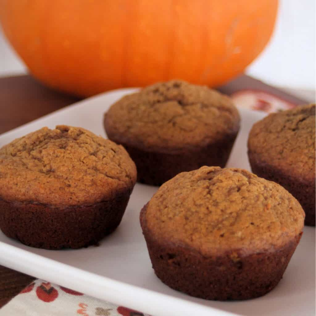 Pumpkin gingerbread muffins on a white plate with a pumpkin in the background.
