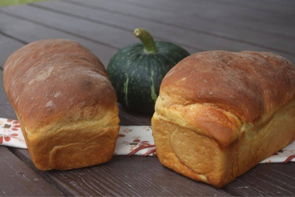 Two loaves of pumpkin cinnamon swirl bread sitting on a napkin with a green pumpkin between them in the background.