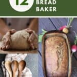 A photo of hands wrapped around raw bread dough, sitting on top of a photo of wooden spoons on a towel, next to a photo of a loaf of bread in a stoneware pan with text overlay stating 12 gifts for the bread baker.
