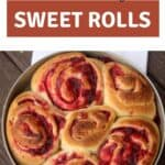 A pan of unfrosted cranberry sweet rolls with one missing sitting on a white towel with text overlay reading homemade cranberry sweet rolls.
