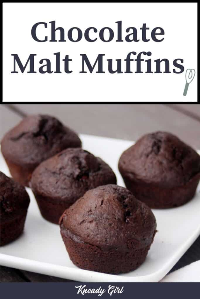 A plate full of chocolate muffins with text overlay reading: chocolate malt muffins.