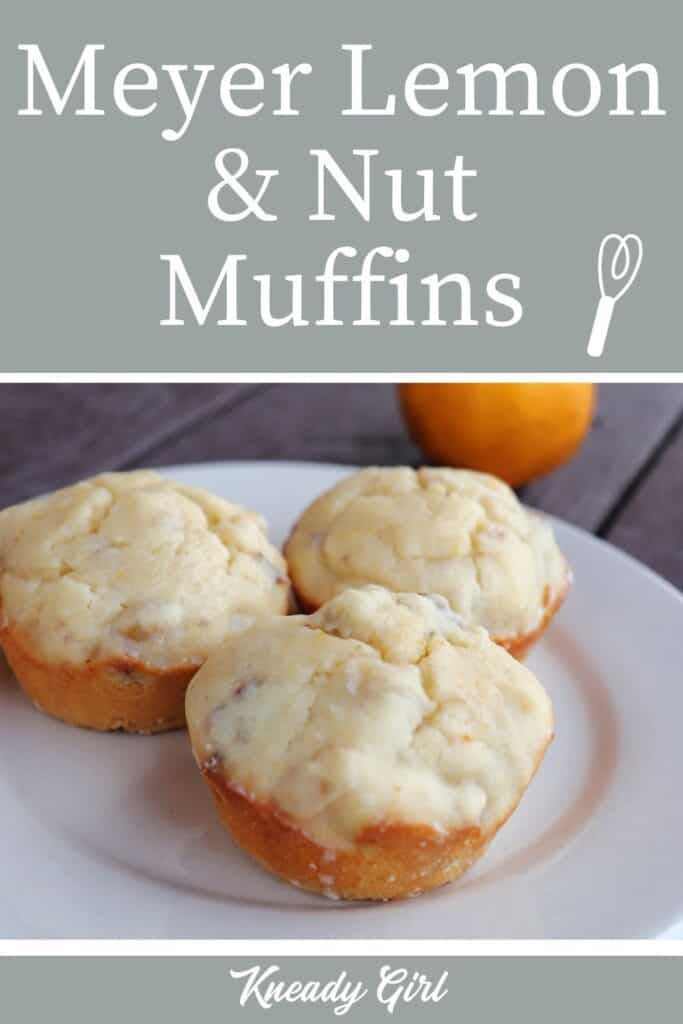 3 lemon muffins on a plate with a fresh meyer lemon in the background with text overlay stating: meyer lemon & nut muffins.