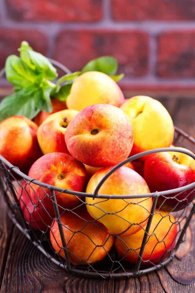A wire basket full of fresh, ripe nectarines.