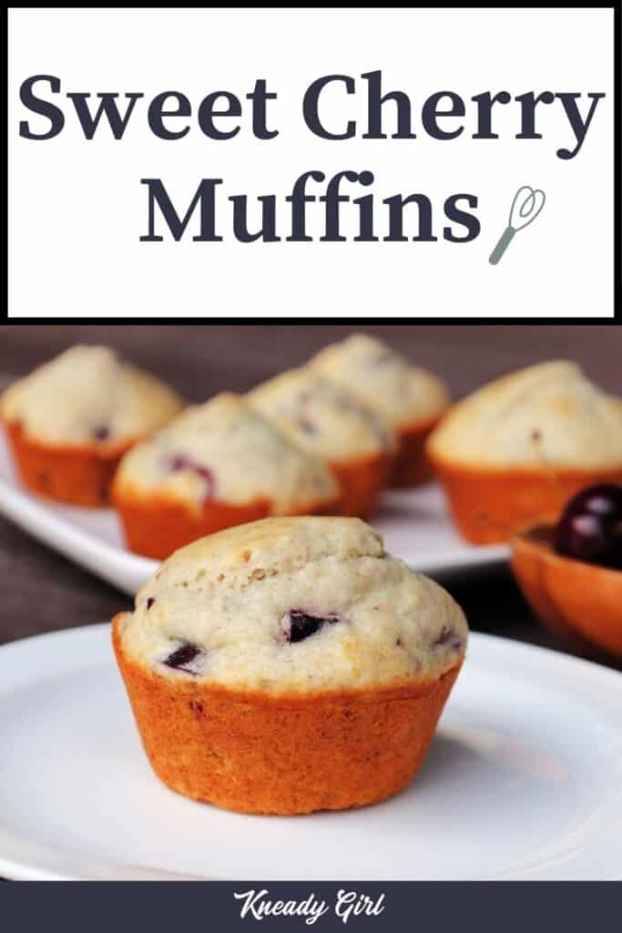 A cherry muffin on a white plate with platter of more muffins in the background with text overlay reading sweet cherry muffins.